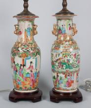 Pair of Chinese Export Rose Medallion vase lamps