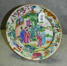Chinese 19th C Famille rose porcelain plate , repaired.