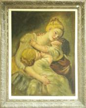 Traditional Framed Mother And Baby Painting.
