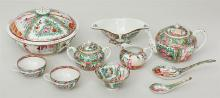 Large Chinese Export Rose Medallion Porcelain Dinner Service for Twelve