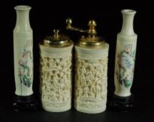 4 Carved Bone Vases & Shakers