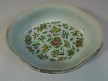 ANTIQUE CHINESE FAMILLE ROSE PORCELAIN DISH - QING