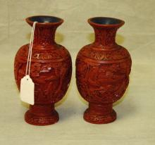Pair Chinese cinnabar carved vases