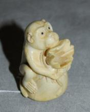 Chinese marine ivory carved monkey caligraphy brush holder