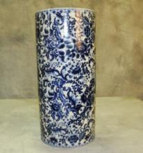 Chinese blue and white porcelain umbrella stand.