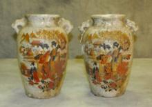 Pair Japanese pottery vases