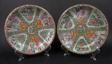 Two (2) 19th/20th Century Chinese Porcelain Rose Medallion Low Bowls