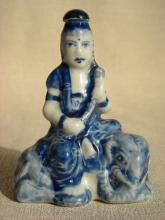 Underglaze Blue Porcelain Buddha Snuff Bottle