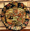 ANTIQUE OLD VINTAGE HAND PAINTED ASIAN / CHINESE SCENE DISPLAY PLATE DISH HANGER