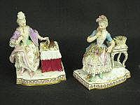 TWO SIMILAR MEISSEN PORCELAIN FIGURES OF LADIES,