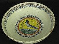 19TH CENTURY CONTINENTAL TIN GLAZED POTTERY BOWL,