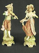PAIR OF ROYAL DUX BOHEMIA PORCELAIN FIGURES, in