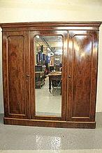 VICTORIAN MAHOGANY THREE SECTION FITTED WARDROBE,