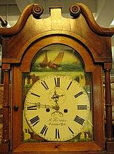 VICTORIAN OAK AND MAHOGANY EIGHT DAY LONGCASE