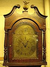 VICTORIAN CASED EIGHT DAY BRASS FACED MAHOGANY