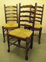 SET OF SIX OAK LADDER BACK CHAIRS, with sea grass