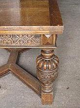 17TH CENTURY STYLE DRAWER LEAF DINING TABLE, the