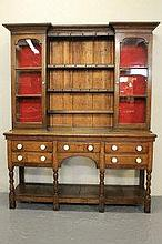19TH CENTURY WELSH OAK POT BOARD CABINET BACKED