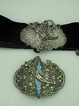 A 19TH CENTURY RUSSIAN SILVER GILT CLOISONNE BELT