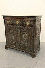 18TH CENTURY OAK CUPBOARD, now later carved and