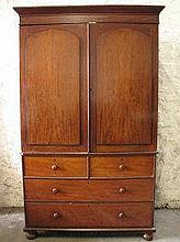 LARGE VICTORIAN MAHOGANY TWO STAGE PRESS CUPBOARD,