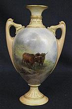 A FINE ROYAL WORCESTER PORCELAIN TWIN HANDLED
