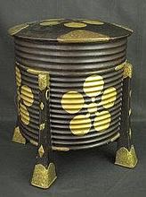 JAPANESE LACQUERED RIBBED CYLINDRICAL DRUM SHAPED