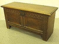 LATE 17TH CENTURY SMALL OAK COFFER, having moulded