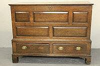 18TH CENTURY OAK PLANK TOP TWO DRAWER MULE CHEST,