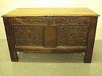 LATE 17TH CENTURY OAK COFFER, having moulded edge