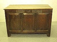EARLY 18TH CENTURY OAK COFFER, having moulded edge