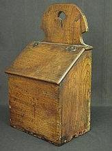19TH CENTURY ELM HANGING SALT OR CANDLE BOX,