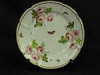 SWANSEA PORCELAIN TRIDENT MARK INDENTED RIM FLORAL