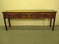 18TH CENTURY OAK STRAIGHT FRONTED DRESSER BASE,
