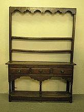 18TH CENTURY WELSH OAK POTBOARD DRESSER, of small