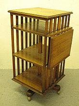 20TH CENTURY OAK SQUARE REVOLVING BOOKCASE, with