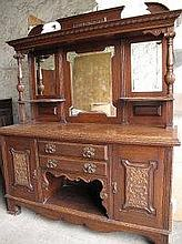EARLY 20TH CENTURY OAK MIRROR BACKED SIDEBOARD,