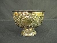 AN EDWARD VII SILVER ROSE BOWL, repousse decorated