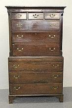 18TH CENTURY WELSH OAK CHEST ON CHEST, having