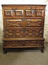 17TH CENTURY OAK CHEST UPON STAND, having moulded
