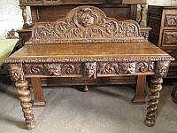 LATE VICTORIAN FLEMISH STYLE OAK SIDE TABLE,
