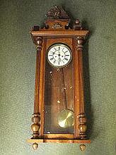 WALNUT CASED VIENNA TYPE TWO TRAIN WALL CLOCK,