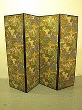 19TH CENTURY EBONIZED FRAME FOUR SECTION SCREEN,
