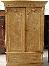 VICTORIAN STRIPPED PINE WARDROBE, having moulded