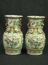PAIR OF CHINESE PORCELAIN CANTON BALUSTER SHAPED