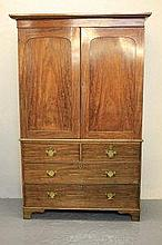 19TH CENTURY MAHOGANY TWO STAGE PRESS CUPBOARD,