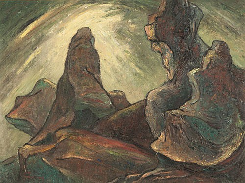 AUDREY EDITH GREENHALGH (B. 1903), YEARNING ROCKS,