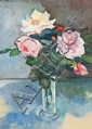 DIANA JOHNSON , ROSES, Signed lower left, Oil on