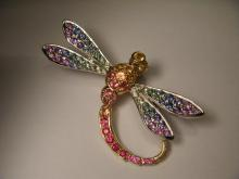 Stunning 18K 2-Tone Two Tone Gold Multi-Colored Sapphire Dragonfly Brooch Pin