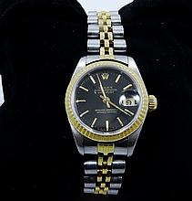 Rolex- Ladie's 1985 Rolex 18K/SS Datejust W/Date Display & Black Dial *Working*